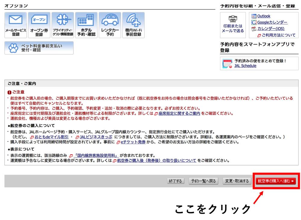 JAL 購入画面