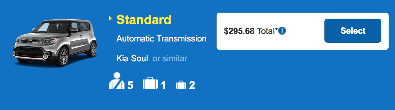 ハワイ島 コナ・ヒロ アラモレンタカー スタンダード 料金例:$295.68
