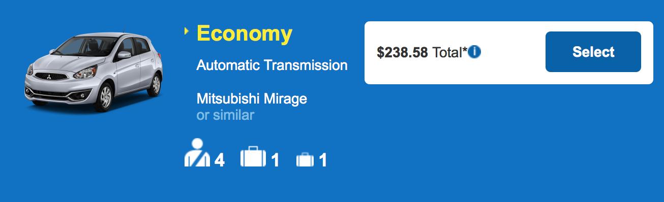 ハワイ島 コナ・ヒロ アラモレンタカー エコノミー参考料金 $238.58