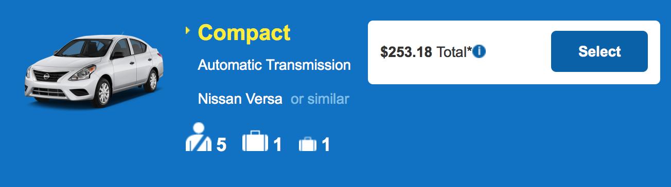 ハワイ島 コナ・ヒロ アラモレンタカー コンパクト 料金例:$253.18